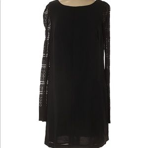 Adrianna Papell Black Knit Long Sleeve Dress 8
